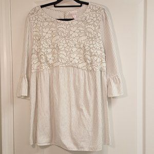 Isabel Maternity White Lace Striped Blouse